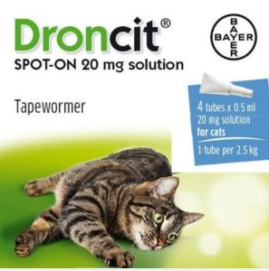 Bayer Droncit Spot On Cat Tapeworm 0.5 Ml x 4 Tubes