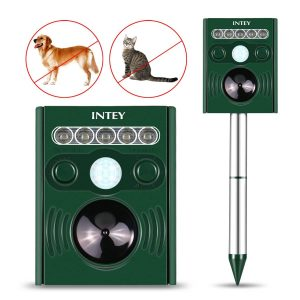 INTEY Ultrasonic Solar Powered Cat Repellent Animal Scarer